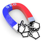 Horseshoe two color magnet attracts hand cursors. — Stock Photo