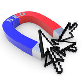 Horseshoe two color magnet attracts arrow cursors. — Stock Photo