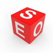 Red SEO cube. — Stock Photo