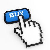 Mavi düğme el imleci ile satın. — Stok fotoğraf