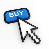 Blue button BUY with arrow cursor. — Stock Photo