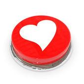 Botão redondo vermelho com coração branco. — Foto Stock