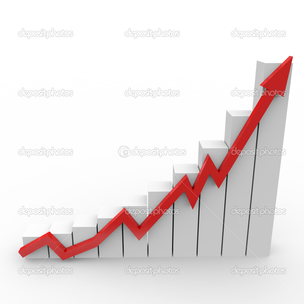 Business graph with going up red arrow — Stock Photo ...