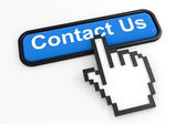 Blue button CONTACT US with hand cursor. — Stock Photo