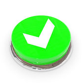 Green round button with white tick sign. — Stock Photo