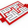 Red arrows going through the maze. Path across labyrinth. — Stock Photo