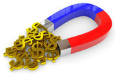 Horseshoe two color magnet attracts gold dollar signs — Stock Photo