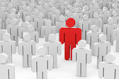 3D men in crowd. Concept of individuality. — Stock Photo