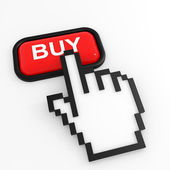 Red button BUY with hand cursor. — Stock Photo