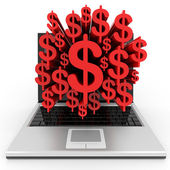 Laptop with a dollar sign on the screen. — Stock Photo