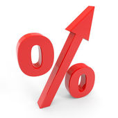 Red percentage symbol with an arrow up. — Stock Photo