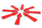 Red arrow pointing inwards. — Stock Photo