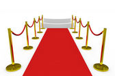 Staircase with red carpet on white background. — Stock Photo