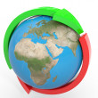 Red and green arrows around earth globe. Cycle. — Stock Photo
