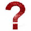 3D red question mark from questions. — Stock Photo
