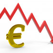 Stock Photo: Decrease euro graph.