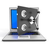 Open laptop safe. — Stock Photo