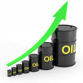 Rising oil barrels graph. — Stock Photo