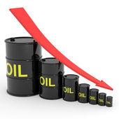 Decreasing oil barrels graph. — Stock Photo