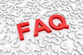 Czerwony faq słowo wokół pytania. — Zdjęcie stockowe