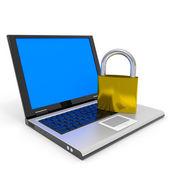 Laptop and padlock. Internet security concept. — Stock Photo