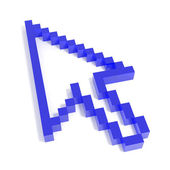 3D arrow cursor from blue glass. — 图库照片