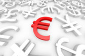 Red euro sign around another currency signs. — Stock Photo