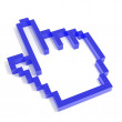 3D hand cursor from blue glass. — Stock Photo