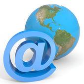 E-mail sign and globe earth. — Stock Photo