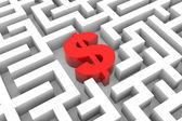 Red dollar sign into the maze. — Stock Photo
