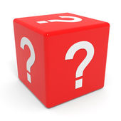 Red cube with question mark. — Stock Photo