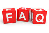 FAQ red cubes. — Stock Photo