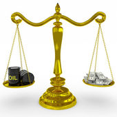 Oil barrel and dollars sing on a golden scales. — Stock Photo
