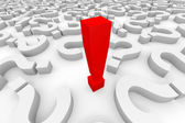 Red 3d exclamation point among question marks. — Stock Photo