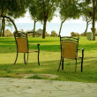 Stock Photo: Chairs in garden.
