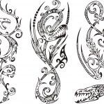 Стилизованные драконы.  Векторный набор. черный,существо,кинжал,декоративные...