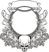 Frame with skull in Art Nouveau style — Stock Vector