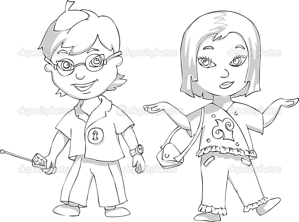 Boy and Girl. Black and white vector illustration — Stock Vector #10512613