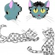 Stock Vector: Pixelated stylized cats