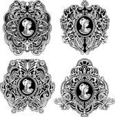 Set of decorative antique cameos — Stock Vector