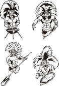 Native American Shamans — Vector de stock