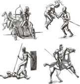 Ancient Gladiator Sketches — Stock Vector