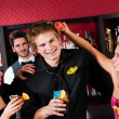 At cocktail bar friends during happy hours — Stock Photo