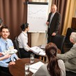 Stock Photo: Business man at team meeting discuss flip-chart
