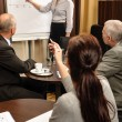 Business woman point flip-chart leadership meeting — 图库照片