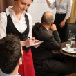 Leadership business meeting waitress take order — Stock Photo
