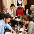 Waitress take order businesspeople conference room — Stock Photo