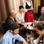 Business meeting dealing at restaurant — Stock Photo