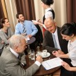 Business meeting executives dealing at restaurant — Stock Photo #10220823