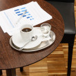 Coffee break business table with reports charts — Stock Photo #10220832